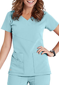76fa9533331 See Details item #2130 · Grey's Anatomy Signature 3 Pocket Wrap Detail Scrub  Top