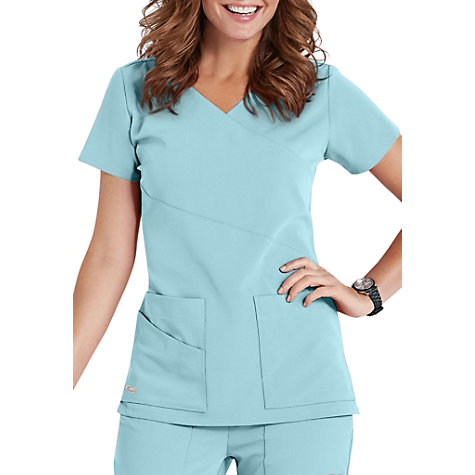 bc9e1401e0c Greys Anatomy Signature 3-pocket wrap detail scrub top. | Uniform City