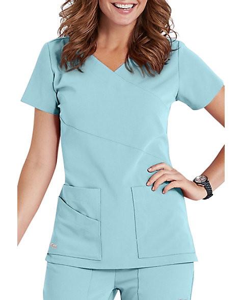 c6a62b2078d Greys Anatomy Signature 3-pocket wrap detail scrub top. | Scrubs & Beyond
