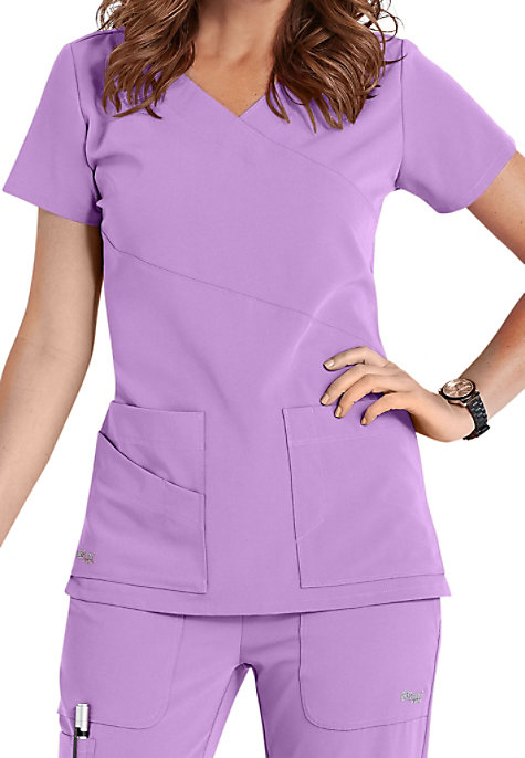 Greys Anatomy Signature 3-pocket wrap detail scrub top ...