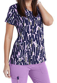 Greys Anatomy Signature Pretty Abstract Blocks V-neck Print Scrub Tops