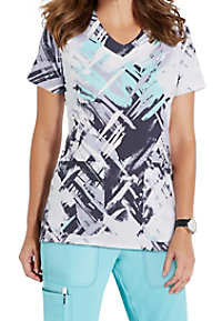 Grey's Anatomy Signature Hypnotic V-neck Print Scrub Tops
