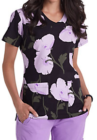 Grey's Anatomy Signature Pretty Poppy V-neck Print Scrub Tops