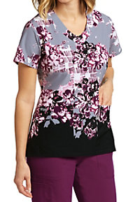 Greys Anatomy Signature Rose Garden V-neck Print Scrub Tops
