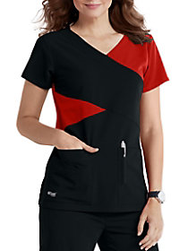 4 Pocket Color Block Mock Wrap Top