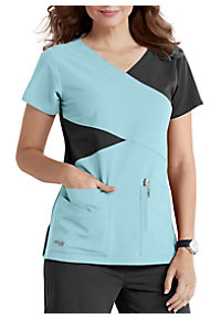e5ff1113975 See Details item #2140 · Grey's Anatomy Signature 4 Pocket Mock Wrap Color  Block Scrub Top