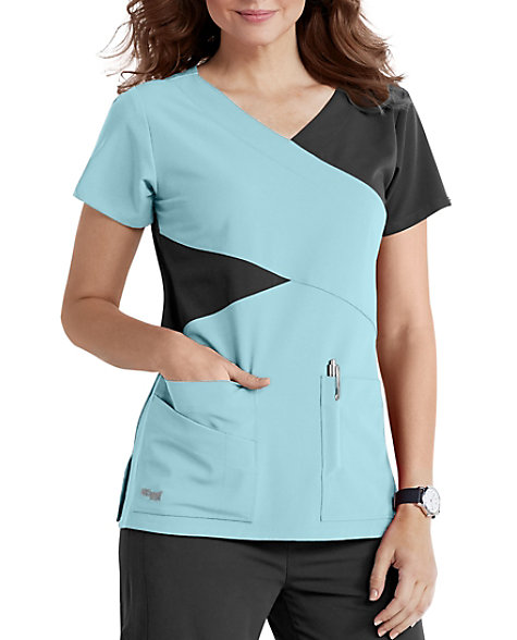 ce68a5b2e55 Greys Anatomy 4 Pocket Mock Wrap | Scrubs & Beyond