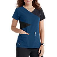 Grey's Anatomy Signature 4 Pocket Mock Wrap Tops