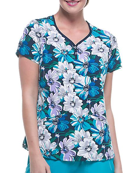 823e1c85129 Healing Hands Purple Label Isabel Floral Maze Y-neck Print Scrub Tops    Scrubs & Beyond
