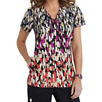 Beyond Scrubs Strokes Of Genius Keyhole Print Tops