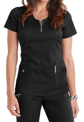 Beyond Scrubs Mia Zipper Neckline Scrub Tops