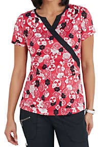 Beyond Scrubs Asian Bloom Mock Wrap Print Scrub Tops