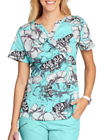 Butterfly Garden Mock Wrap Print Top