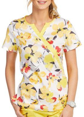 Sunshine Blossoms Mock Wrap Print Top