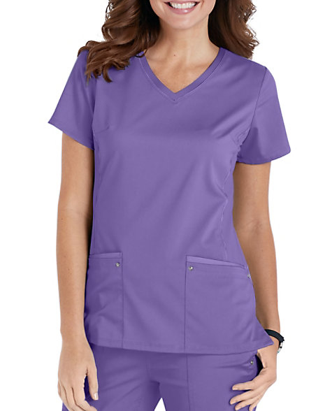 c98f64e556c Healing Hands Purple Label Juliet V-neck Side Knit Panels Scrub Tops |  Scrubs & Beyond