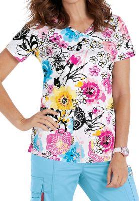 Beyond Scrubs Floral Fantasy Y-neck Print Scrub Tops
