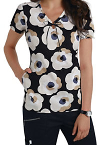 Beyond Scrubs Exploded Floral Keyhole Neck Print Scrub Tops