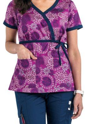 Beyond Scrubs Spirals Purple Tie Wrap Print Scrub Tops