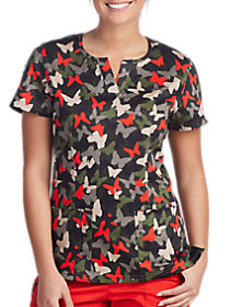 Butterfly Camo Notch Neck Print Top