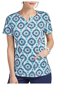 1fc43d7da29 See Details item #2261MT · Beyond Scrubs Medallion Tiles Notch Neck Print  Scrub Top