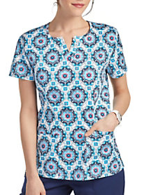 Medallion Tiles Notch Neck Print Top