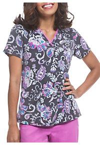 18b525f441a See Details item #2266PP · Healing Hands Purple Label Pretty Paisley V-Neck  Print Scrub Top