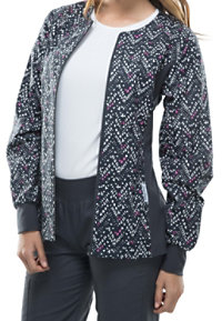 Cherokee Flexibles Textured Chevron Pewter Print Scrub Jackets