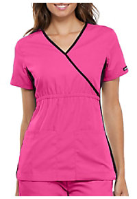 Cherokee Flexibles Mock Wrap Knit Panel Scrub Tops