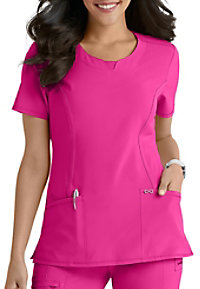 Infinity By Cherokee Solid Round Neck Scrub Tops With Certainty