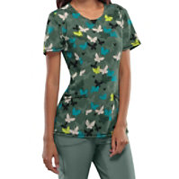 Infinity By Cherokee Butterfly Camo Print Tops With Certainty