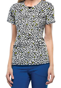 Infinity By Cherokee Spot The Leopard Curved V-neck Print Scrub Tops With Certainty