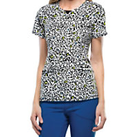 Infinity By Cherokee Spot The Leopard Curved V-neck Tops With Certainty