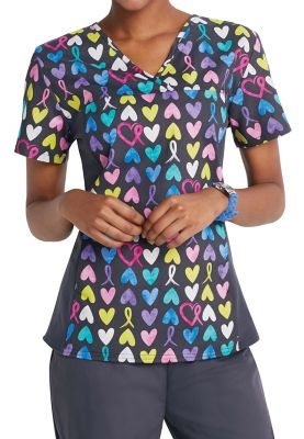 Cherokee Flexibles A Cause To Care V-neck Print Scrub Tops