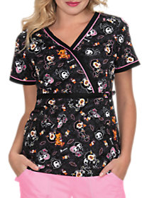 Tokidoki Spooky Nights Mock Wrap Print Top