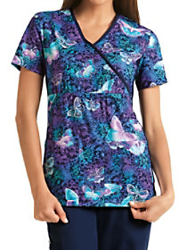 Midnight Flight Mock Wrap Print Top
