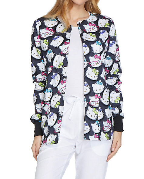 323865e4c Cherokee Tooniforms Hello Kitty Glasses Print Scrub Jackets | Scrubs ...