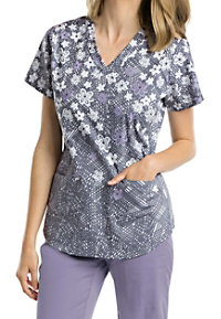 Barco NRG Flower Burst V-neck Print Scrub Tops