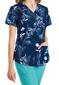 Barco NRG Wildflowers V-neck Print Scrub Tops