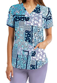Barco NRG Wishful V-neck Print Scrub Tops