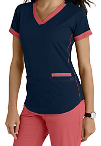 Barco NRG 3 Pocket Contrast Trim Scrub Tops