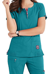 aab01fc3525 See Details item #317K · Koi Lite Serenity Double Zipper Neckline Ribbed  Panel Scrub Tops