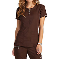 Koi Lite Limited Edition Serenity Double Zipper Neckline Ribbed Panel Tops