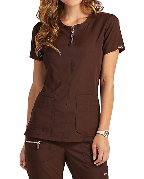 8a3f8ef6d7c Koi Lite Limited Edition Serenity Double Zipper Neckline Ribbed Panel Scrub  Tops | Scrubs & Beyond