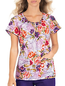 Rosy Embroidery Notch Neck Print Top