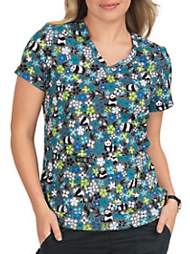 Panda Flower V-Neck Print Top