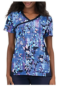 aa489a6dfbc See Details item #385BF · Koi Butterfly Flight Crossover Print Scrub Top