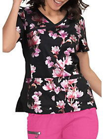 Foiled Flower Crossover Print Top