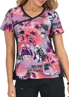 Rose Frost Crossover Print Top