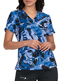 Blue Blast Mock Wrap Print Top