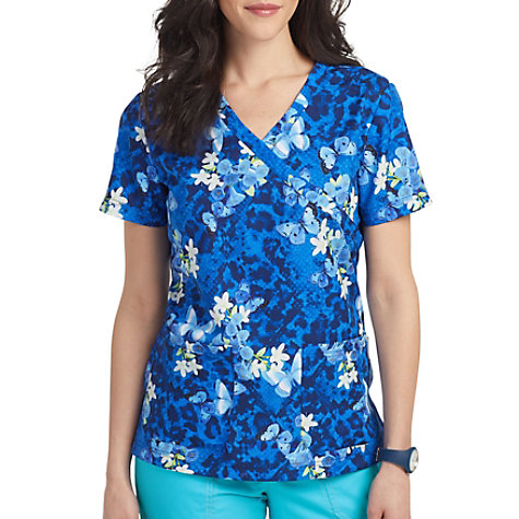8c7e181e593 Koi Blue Moon Bay Mock Wrap Print Scrub Top | Uniform City